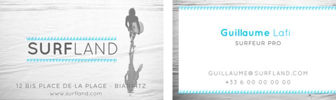 Analyse visuelle d'une carte de visite pour surfeur