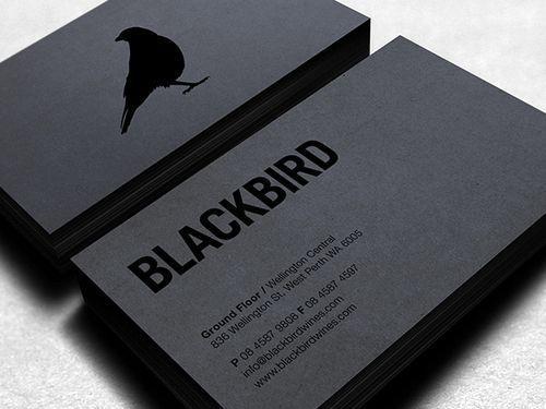 Carte de visite noir sur noir, analyse visuelle