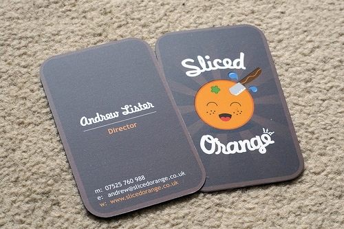 Carte de visite slice orange