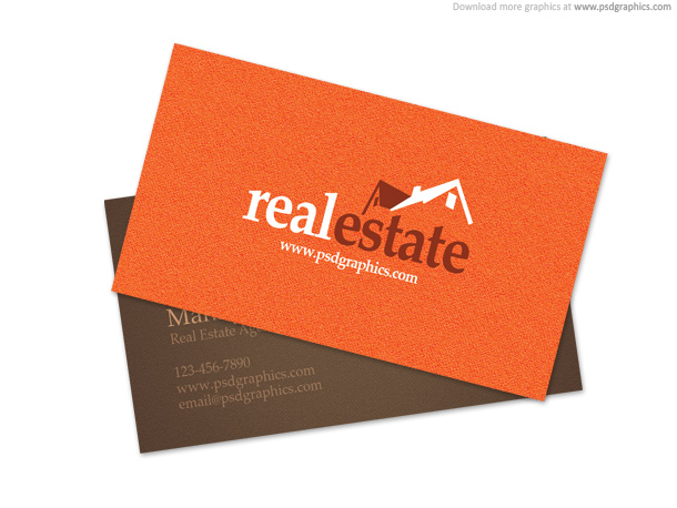 Carte de visite real estate orange